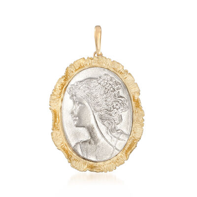 Italian Cameo-Style Pendant in Sterling Silver and 18kt Yellow Gold Over Sterling Silver, , default