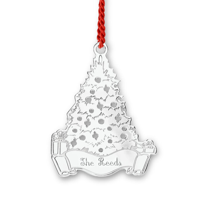 Sterling Silver Personalized Rhodium-Plated Christmas Tree Ornament, , default