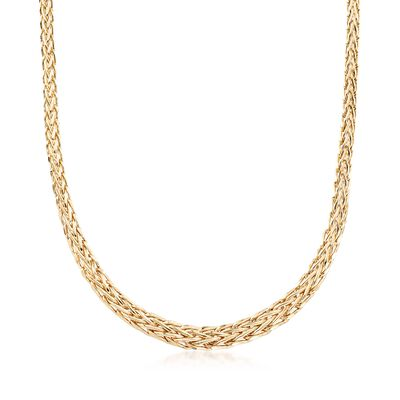 18kt Yellow Gold Over Sterling Silver Wheat-Link Necklace