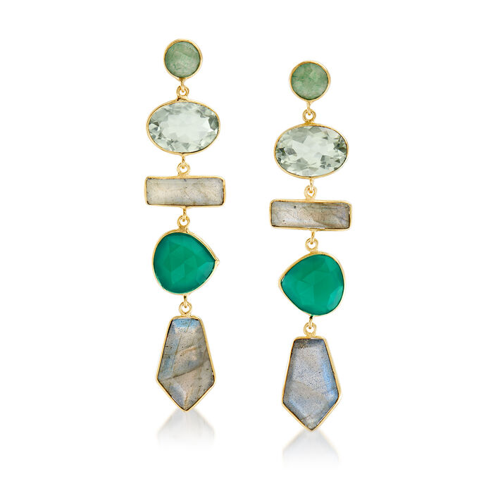 Multi-Gemstone Drop Earrings in 18kt Yellow Gold Over Sterling