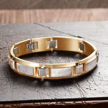 """Men's Two-Tone Stainless Steel Textured and Polished Link Bracelet. 8.5"""", , default"""