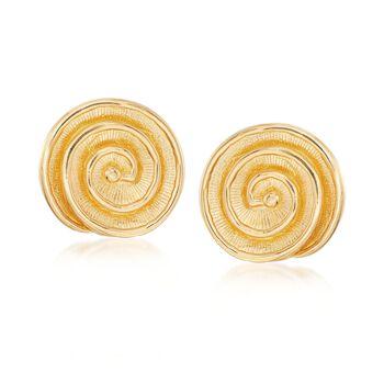 Italian 18kt Gold Over Sterling Spiral Shell Earrings , , default