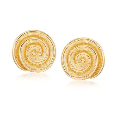 Italian 18kt Gold Over Sterling Spiral Shell Earrings, , default