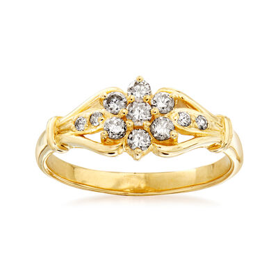 C. 1980 Vintage .35 ct. t.w. Diamond Flower Cluster Ring in 14kt Yellow Gold, , default