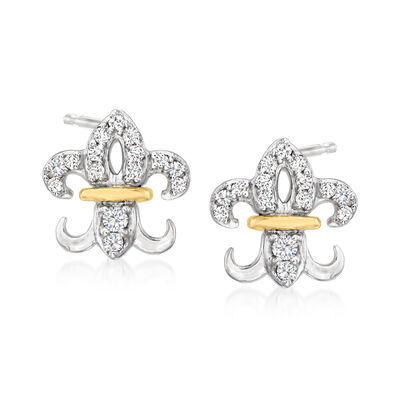 Diamond-Accented Fleur-De-Lis Stud Earrings in Platinum with 14kt Yellow Gold