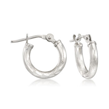 "Mom & Me Hoop Earring Set of 2 in 14kt White Gold. 3/8""-5/8"", , default"
