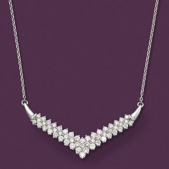 """2.00 ct. t.w. Diamond Chevron Necklace in Sterling Silver. 20"""", , default"""