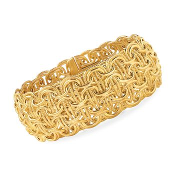 Italian 14kt Yellow Gold Woven Byzantine Bracelet, , default