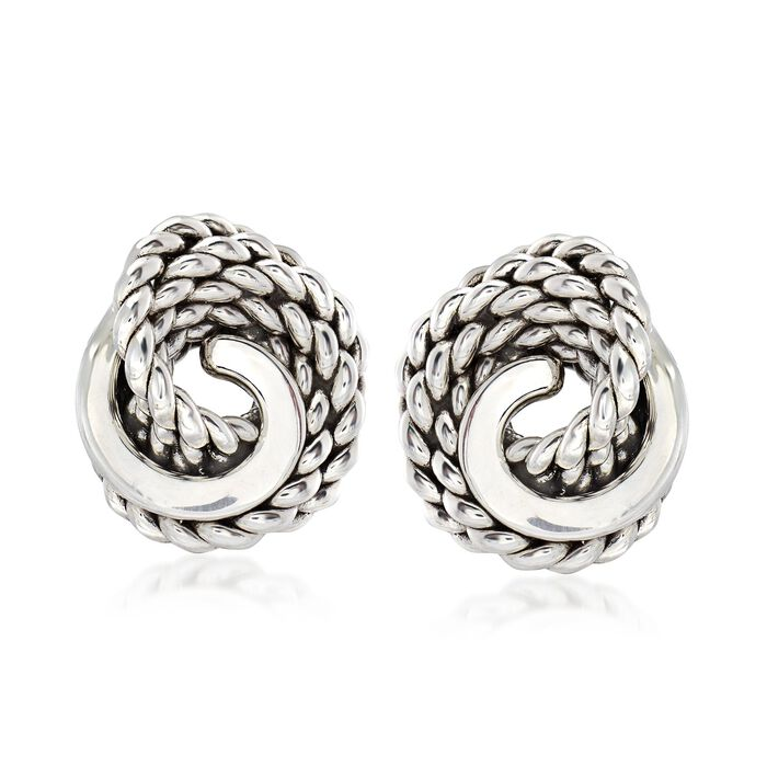 Sterling Silver Roped Knot Earrings, , default
