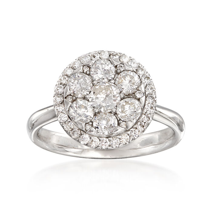 C. 1990 Vintage 1.05 ct. t.w. Diamond Cluster Ring in 14kt White Gold. Size 6.25