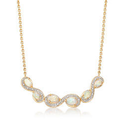 Opal and Diamond-Accented Curvy Frame Station Necklace in 18kt Gold Over Sterling, , default
