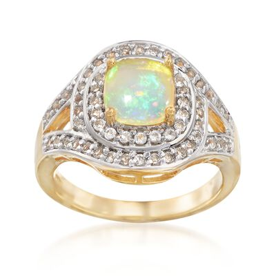 Opal and .20 ct. t.w. White Topaz Ring in 18kt Gold Over Sterling, , default