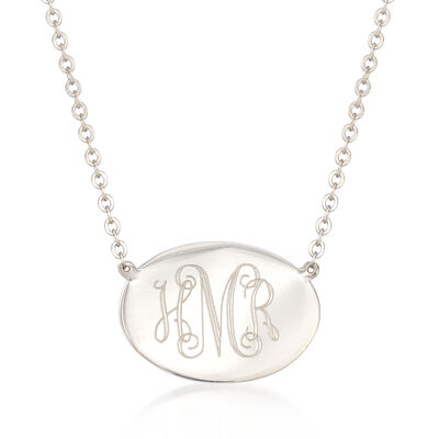 14kt White Gold Personalized Oval Disc Pendant Necklace, , default