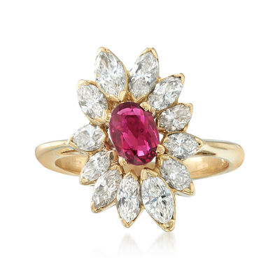 C. 1970 Vintage 2.40 ct. t.w. Diamond and .65 Carat Ruby Ring in 18kt Yellow Gold, , default