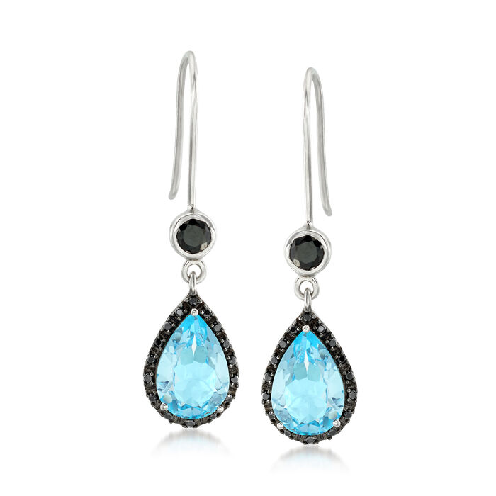 5.75 ct. t.w. Blue Topaz and .90ct. t.w. Black Spinel Drop Earrings in Sterling Silver, , default