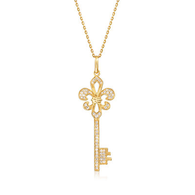 .33 ct. t.w. Diamond Fleur-De-Lis Key Pendant Necklace in 18kt Gold Over Sterling
