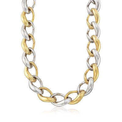 Italian Two-Tone Sterling Silver Link Necklace, , default