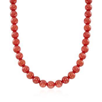 """10mm Carnelian Jewelry Set: Beaded Necklace, Bracelet and Earrings in Sterling Silver. 18"""""""