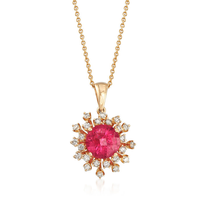 """C. 1980 Vintage 3.00 Carat Pink Spinel and .50 ct. t.w. Diamond Snowflake Pendant Necklace in 14kt Gold. 16"""", , default"""