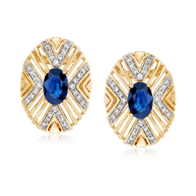 1.10 ct. t.w. Sapphire and .22 ct. t.w. Diamond Openwork Geometric Earrings in 14kt Yellow Gold, , default