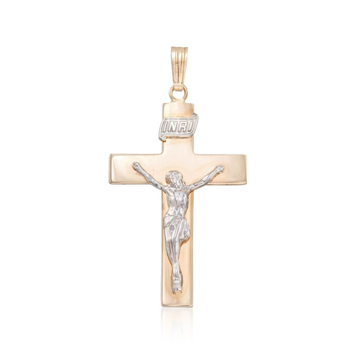Men's 14kt Two-Tone Gold Crucifix Cross Pendant