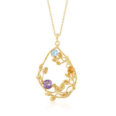 3.60 ct. t.w. Multi-Stone Leaf Pendant Necklace in 18kt Yellow Gold Over Sterling Silver, , default