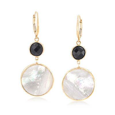Mother-Of-Pearl and Black Onyx Double-Drop Earrings in 14kt Yellow Gold, , default