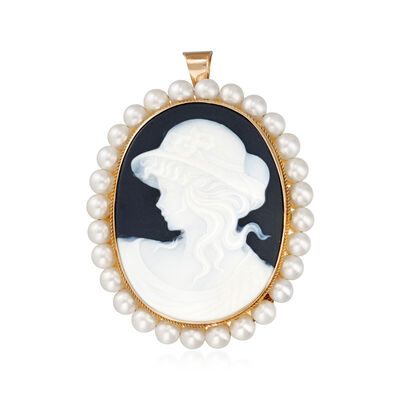 C. 1980 Vintage 3mm Cultured Pearl and Black Glass Cameo Pin/Pendant in 14kt Yellow Gold