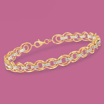 14kt Two-Tone Gold Textured and Polished Link Bracelet, , default