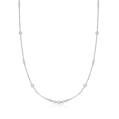 1.30 ct. t.w. CZ Station Necklace in Sterling Silver