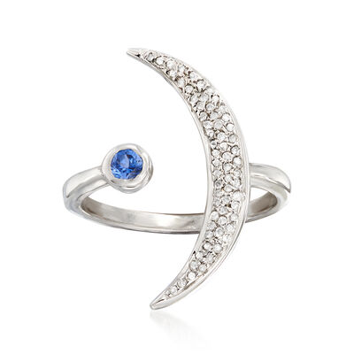 .18 ct. t.w. Diamond and .10 Carat Sapphire Crescent Moon Bypass Ring in Sterling Silver, , default