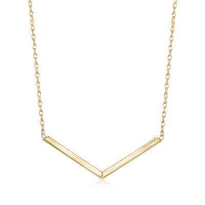 14kt Yellow Gold Chevron Necklace, , default