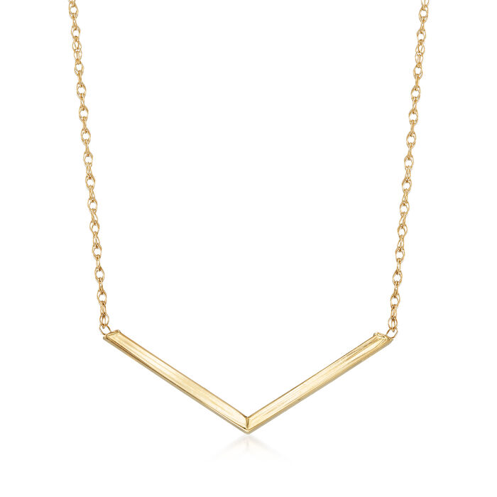 "14kt Yellow Gold Chevron Necklace. 18"", , default"
