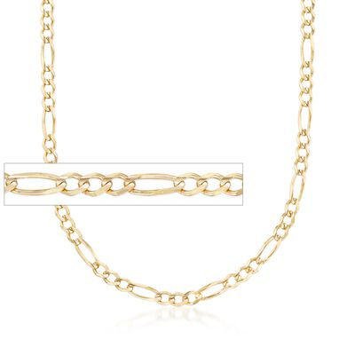 Men's 3.9mm 14kt Yellow Gold Figaro Chain Necklace, , default