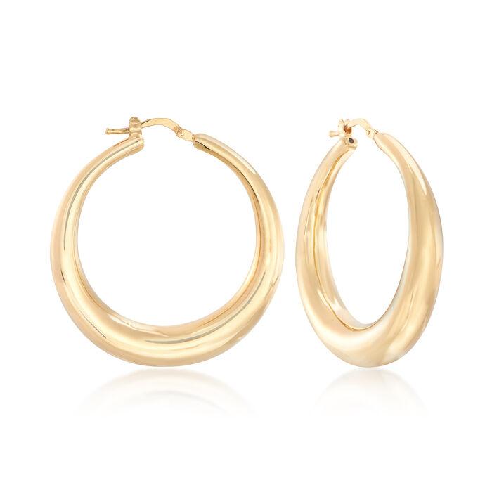"Italian 18kt Yellow Gold Graduated Hoop Earrings. 1 1/2"", , default"
