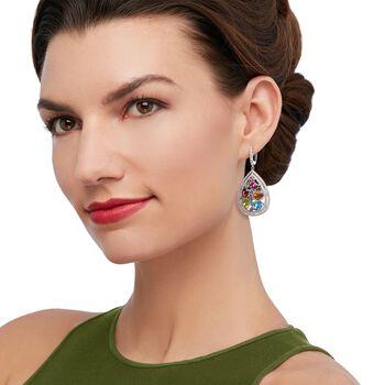13.78 ct. t.w. Multi-Stone Teardrop Earrings in Sterling Silver , , default