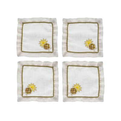 Joanna Buchanan Set of 4 Pineapple Linen Cocktail Napkins, , default