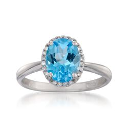 2.00 Carat Blue Topaz Ring With Diamonds in 14kt White Gold, , default