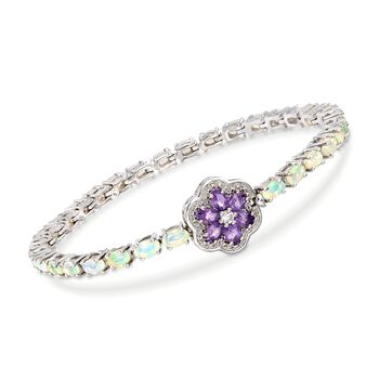 Opal Bracelet With Amethyst and White Topaz Flower in Sterling Silver, , default