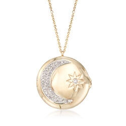 .16 ct. t.w. Diamond Moon and Star Locket Necklace in 14kt Yellow Gold, , default