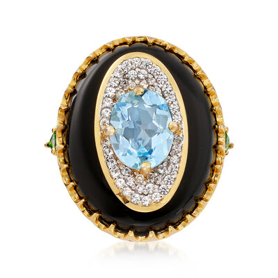 Multi-Gem Ring in 18kt Yellow Gold Over Sterling, , default