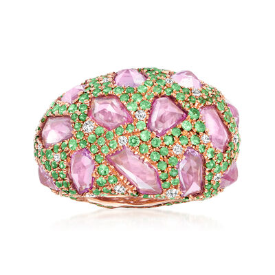 7.50 ct. t.w. Pink Sapphire and 3.40 ct. t.w. Tsavorite Ring with 1.13 ct. t.w. Diamonds in 18kt Rose Gold