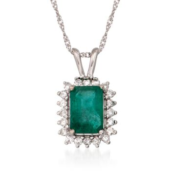 """1.00 Carat Emerald and .15 ct. t.w. Diamond Pendant Necklace in 14kt White Gold. 16"""", , default"""