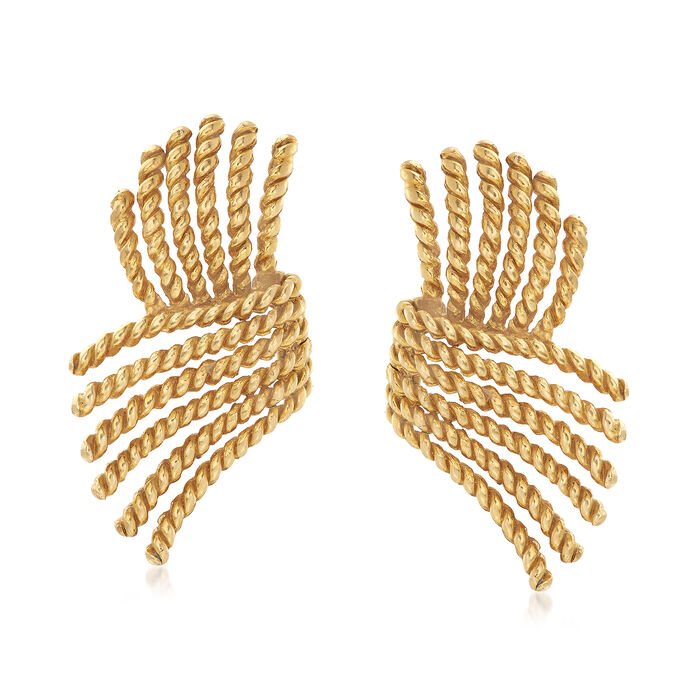 C. 1980 Vintage Tiffany Jewelry 18kt Yellow Gold Rope Wing Clip-On Earrings, , default
