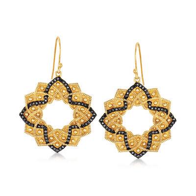 1.00 ct. t.w. Black Spinel Flower Drop Earrings in 18kt Gold Over Sterling