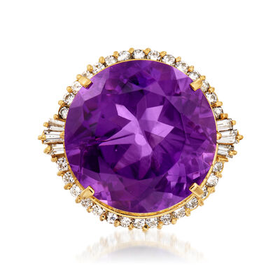 C. 1980 Vintage 22.60 Carat Amethyst and 1.18 ct. t.w. Diamond Ring in 18kt Yellow Gold