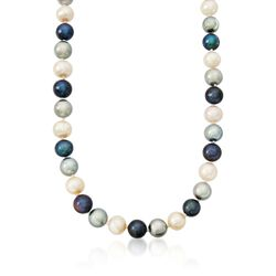 8-10mm Multicolored Cultured Pearl Necklace With 14kt Yellow Gold, , default