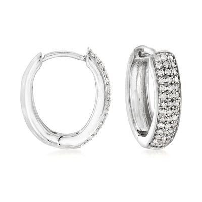 .25 ct. t.w. Diamond Hoop Earrings in Sterling Silver, , default