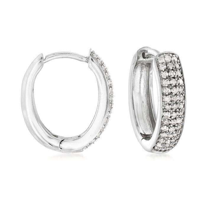 """.25 ct. t.w. Diamond Hoop Earrings in Sterling Silver. 1/2"""""""