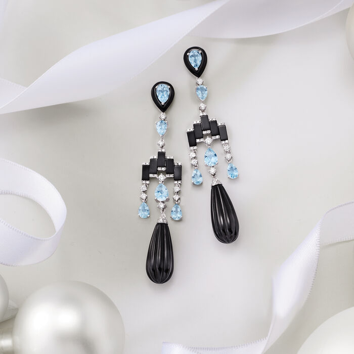 Black Onyx, 4.20 ct. t.w. Aquamarine and .88 ct. t.w. Diamond Chandelier Earrings in 14kt White Gold